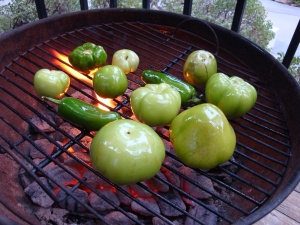tomatillos and jalapenos meet the grill