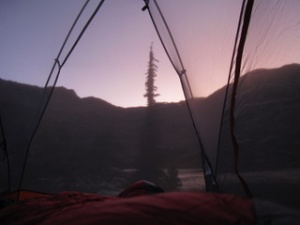 sunset through the tent, nothin like going to bed early