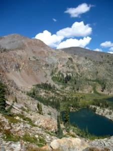 view of half moon lake and dicks peak from jacks peak
