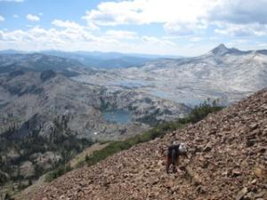 scrambling up the peak
